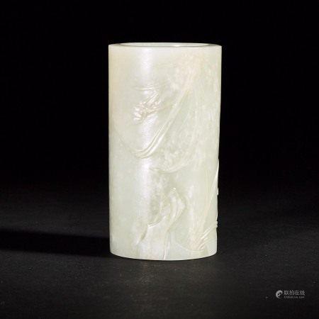 清 十九世纪 白玉雕玉兰纹笔筒 A Finely Carved White Jade Brush Pot, Qing Dynasty, 19th Century