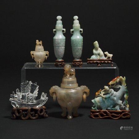 晚清/民国时期 翡翠玛瑙雕摆件一组七件 A Group of Four Jadeite Carvings, Together With Two Small Agate Censers and a Rock Crystal Carved Boat, Late Qing/Republican Period