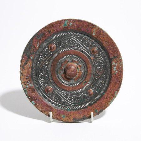 汉 四乳龙虎纹铜镜 A Bronze Circular Mirror With Animals, Han Dynasty (206 BC - AD 220)