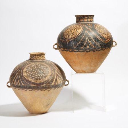 新时期时代 仰韶/马家窑文化 半山类型彩绘陶罐两件  Two Large Painted Pottery Jars, Majiayao Culture, Banshan Phase, Neolithic Period, 3rd Millennium BC