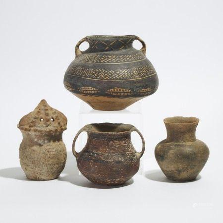新石器时代 彩陶罐一组四件 A Group of Four Pottery Jars, Neolithic Period