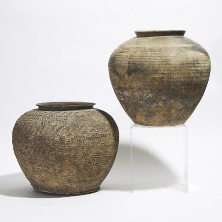 战国 灰陶罐一组两件 Two Large Pottery Jars, Warring States Period (475-221 BC)
