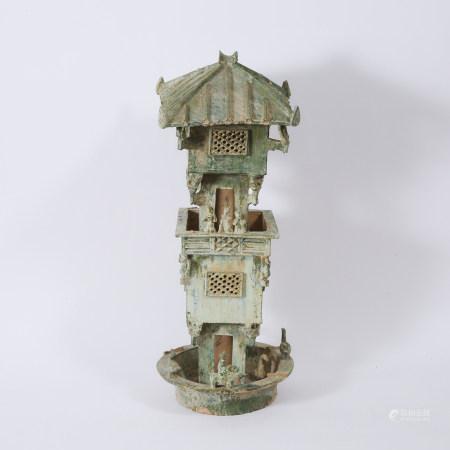 汉 绿釉陶楼 A Large Green-Glazed Two Tier Pottery Watchtower, Han Dynasty (206 BC - AD 220)