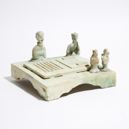 汉 '六博'绿釉陶俑 A Green-Glazed Model of a Games Table, Han Dynasty (206 BC - AD 220)