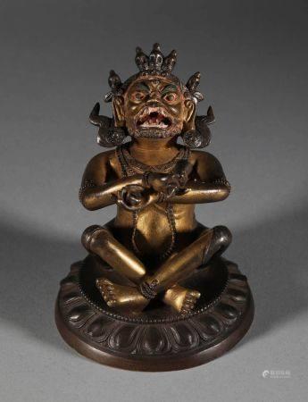 Qing Dynasty - Gilt Best Statue
