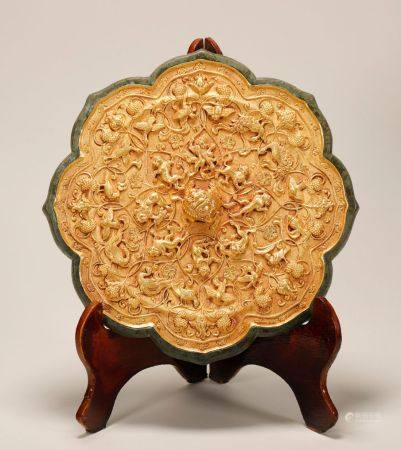 Tang Dynasty - Patterned Gold Mirror