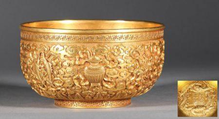 """""""Qing """"Qianlong"""" """" Pure Gold Bowl"""