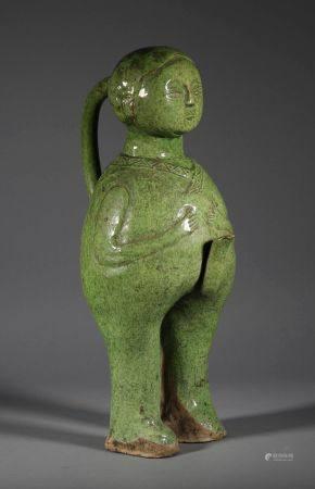 Liao Dynasty - Figure Shape Green Glaze Pot