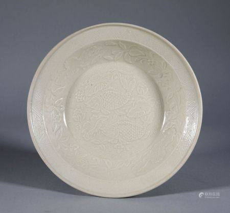 Song Dynasty - Fish Pattern Ding Ware Plate