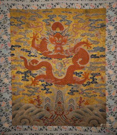 Qing Dynasty - Gragon Pattern Embroidered Screen