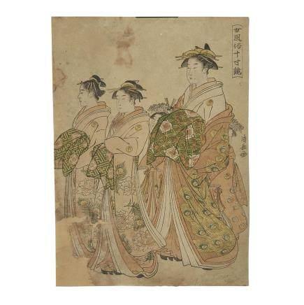 TORII KIYONAGA (1752-1815) ONNA FUZOKU MASUKAGAMI, MIRROR OF WOMEN'S CUSTOMS 鳥居清長 女風俗十寸鏡