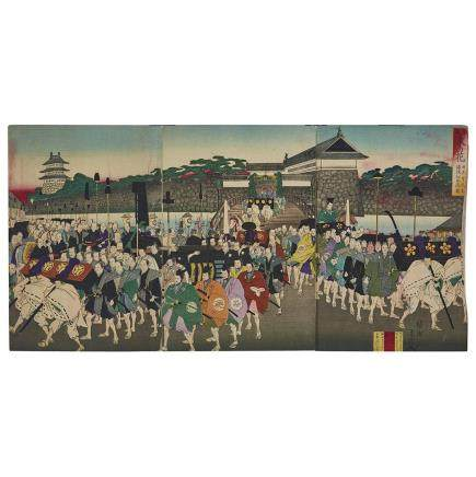 TOYOHARA CHIKANOBU (1838–1912) OFFICIAL CEREMONY AT CASTLE WOODBLOCK TRIPTYCH 豊原周延 温故東の花