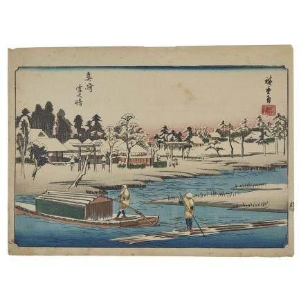 UTAGAWA HIROSHIGE (1797-1858) MASAKI YUKIBARE NO ZU, CLEARING WEATHER AFTER SNOWFALL AT MASAKI 歌川 広重 真崎雪晴之図