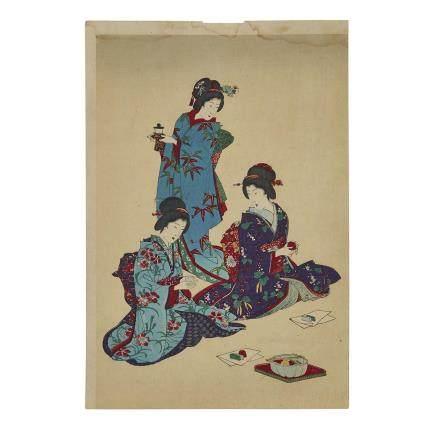TOYOHARA CHIKANOBU (1838–1912) WOODBLOCK TRIPTYCH 豊原周延