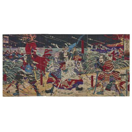 TSUKIOKA YOSHITOSHI (1839-1892), EDO PERIOD BATTLE OF DAN-NO-URA, TRIPTYCH 月岡芳年 (一魁齋芳年)八島大合戰圖