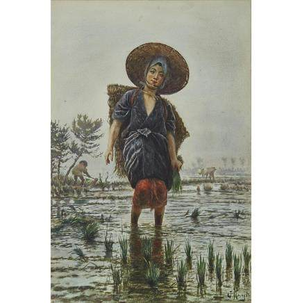 JIROKICHI KASAGI (1870-1923) WOMAN CARRYING FLOWERS; WOMAN WORKING IN A RICE FIELD  笠木次郎吉