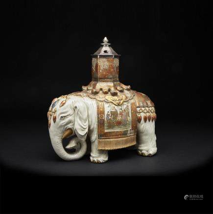 AN EXTREMELY RARE AND MASSIVE SATSUMA ELEPHANT KORO, INCENSE BURNER, MEIJI PERIOD, LATE 19TH CENTURY 明治時代 薩摩燒巨象香薰