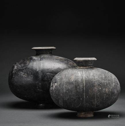TWO POTTERY 'COCOON' JARS, HAN DYNASTY  (202 BC–220 AD) 漢 灰陶繭形罐兩件