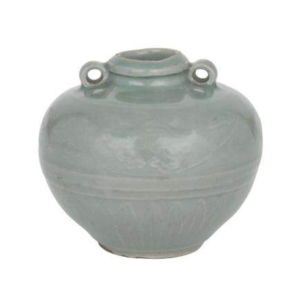 A RARE AND FINE LONGQUAN CELADON GLAZED MINIATURE JAR, SOUTHERN SONG/YUAN DYNASTY (1127-1368) 南宋/元 龍泉窯堆花蓮紋雙繫小罐