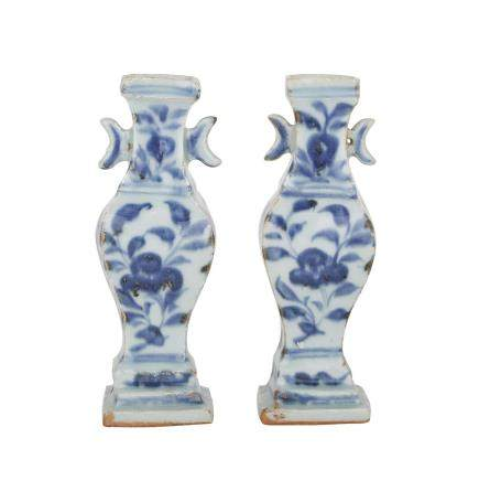 A PAIR OF BLUE AND WHITE 'MOON EARS' MINIATURE VASES, LATE YUAN/MING DYNASTY 元/明 青花折枝牡丹月牙耳瓶一對