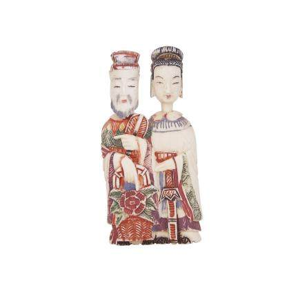 A CHINESE IVORY FIGURAL DOUBLE SNUFF BOTTLE, EARLY 20TH CENTURY 二十世紀初 牙雕加彩鼻煙壺