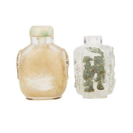 TWO ROCK CRYSTAL SNUFF BOTTLES, 19TH AND 20TH CENTURY 清十九世紀 水晶鼻煙壺兩件   Estimate: $400—600