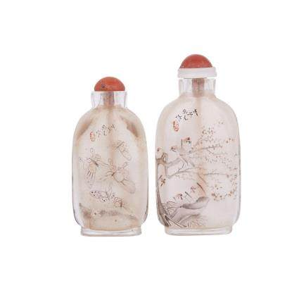 TWO INTERIOR PAINTED GLASS SNUFF BOTTLES BY ZHOU LEYUAN, CYCLICALLY DATED TO 1888 戊子年 周樂元作 玻璃內畫鼻煙壺兩件