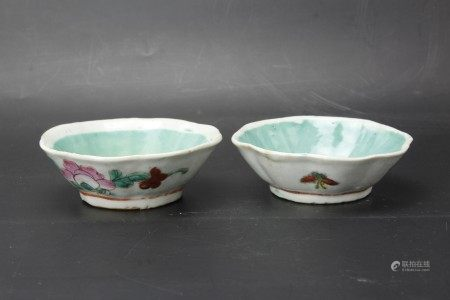 Two Turquoise Green Famille Rose Octagonal Porcelain Bowls