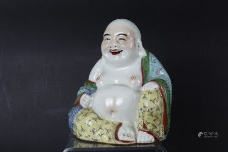 A Chinese Laughing Buddha Porcelain Sculpture Signed SunDeJi