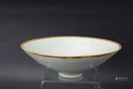 A Qingbai Glazed Yingqing Porcelain Bowl with Child and Phoenix Peony Decoration