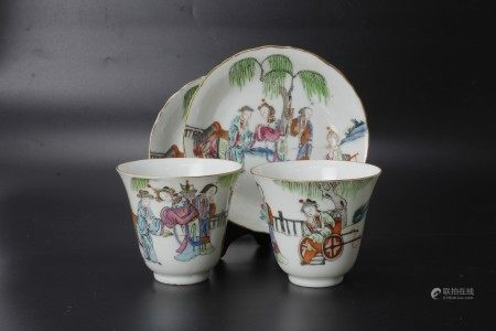 A Pair of Tongzhi Famille Porcelain Cups and Saucers