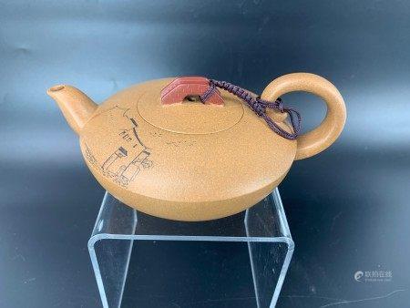 A Chinese Yixing Zisha Teapot with Bridge Top Zhang Qingchen Mark