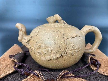 A Chinese Yixing Zisha Plum pile Teapot Mark Jiangrong