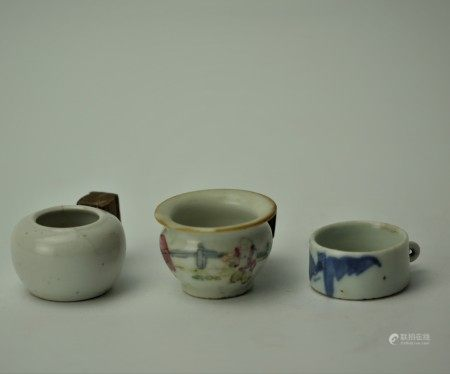 Group of 3 Chinese Antique Porcelain Bird Feeders Water Pots