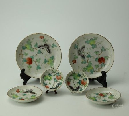 Group of 6 Famille Rose Porcelain Plates and Saucers with Butterfly Art