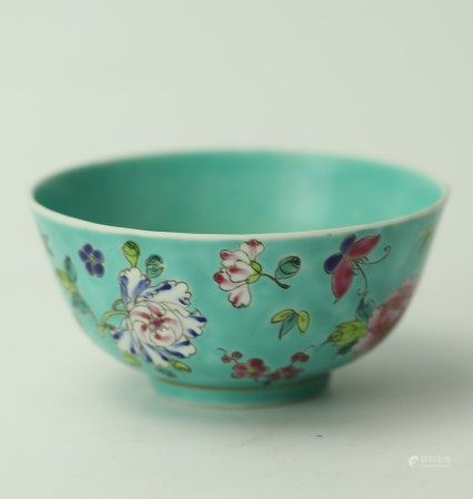 A Chinese Turquoise Famille Rose Floral Porcelain Bowl