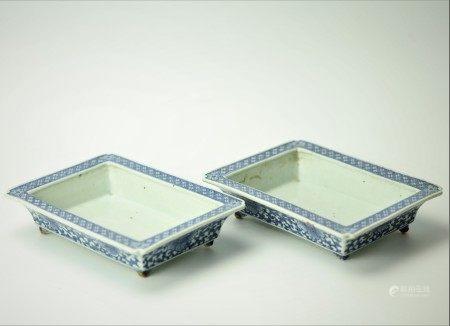 A Pair of Chinese Porcelain Daffodil Bonsai Pots