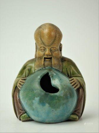 A Chinese Ceramic Elder Man Figural Art Incense Cone Holder