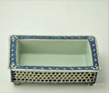 A Chinese Blue and White Porcelain Bonsai Pot