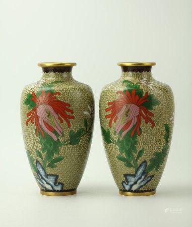 A Pair of Cloisonne Chrysanthemum Floral Vases