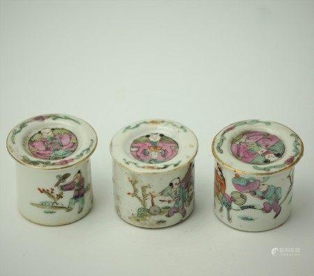 Group of 3 Porcelain Miniature Lidded Canisters Mini Jars
