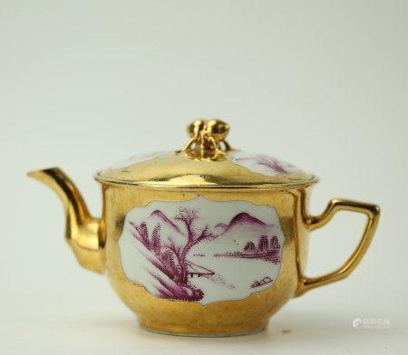 A Shanghai Gold and Red Porcelain Teapot XinShenyu Mark