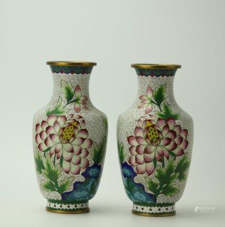 A Pair of White Cloisonne Lotus Floral Vases
