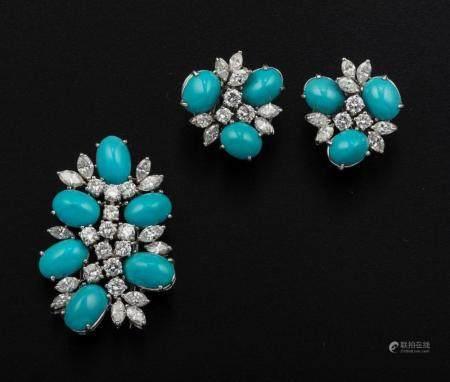Demi-parure composta da clip ed orecchini con turchesi e diamanti,