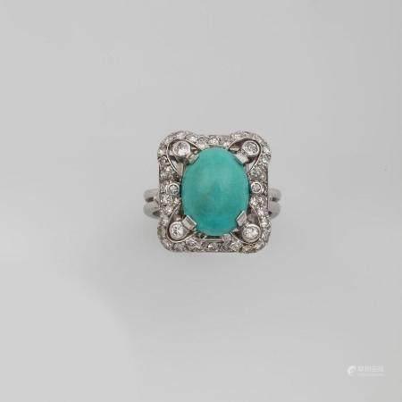 Anello con turchese e diamanti,