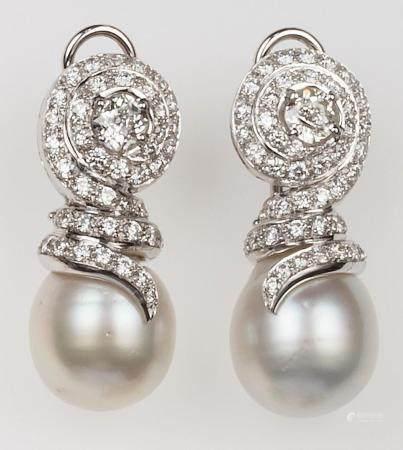Orecchini con diamanti di vecchio taglio e perle Australia,