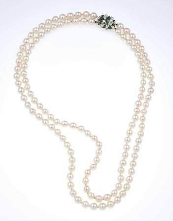 Girocollo a due fili di perle coltivate,