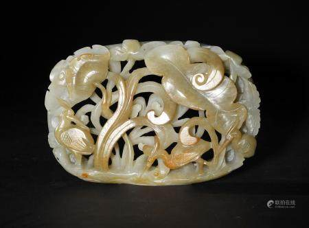Chinese Carved Jade Plaque, Ming or Earlier