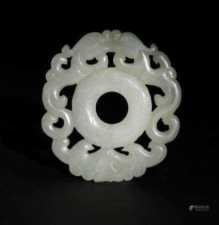 Chinese White Jade Bi with Chilong, 18th Century