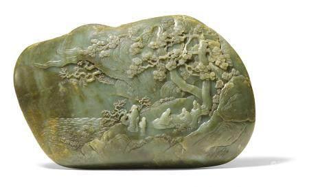 Großes Relief mit Gelehrten in einer Landschaft